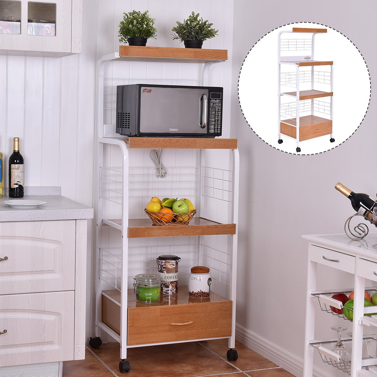 GJH One Bakers Rack Microwave Stand Rolling Kitchen Storage Cart w/Electric Outlet 62'' by GJH One (Image #3)