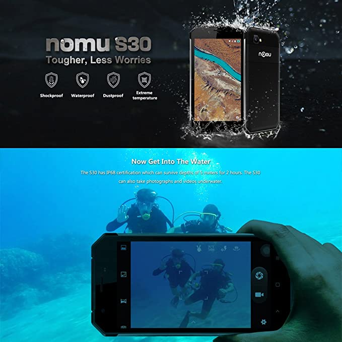 NOMU S30 Smartphone Outdoor Ragged Tough Phone IP68 Waterproof Dustproof  Drop-resistant Shock-resistant 4G FDD-LTE 3G Android 6 0 5 5 Inches FHD