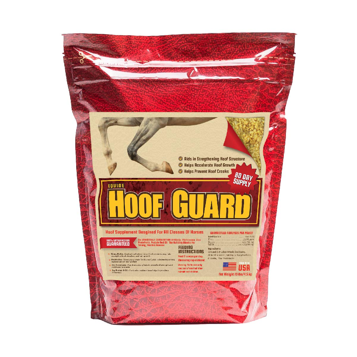 Equine Hoof Guard Concentrated Hoof Supplement For Horses With Biotin, Msm, Methionine And Zinc, 10 lb by Horse Guard