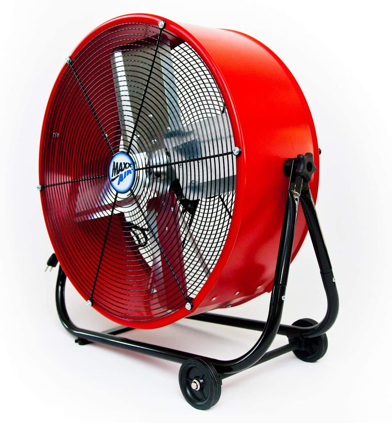 Maxx Air MaxxAir Industrial Grade Circulator for Garage, Shop, Patio, Barn Use BF24TFREDUPS 24-Inch High Velocity Drum Fan, Two-Speed, Red