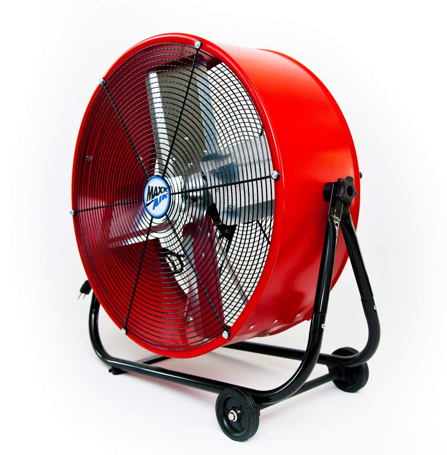 Maxx Air   Industrial Grade Air Circulator for Garage, Shop, Patio, Barn Use   BF24TFREDUPS 24-Inch High Velocity Drum Fan, Two-Speed, Red