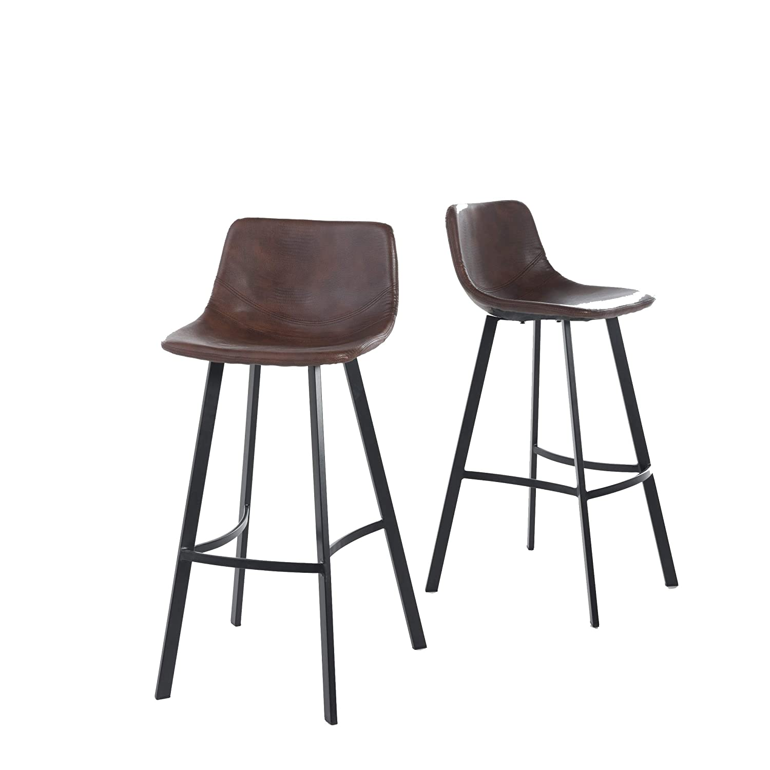 Christopher Knight Home 298406 Dax Snake Skin Brown Bar Stool (Set of 2),