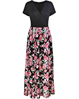 OUGES Women's Summer Floral Pleated Casual V-Neck Long Maxi Dress With Pockets