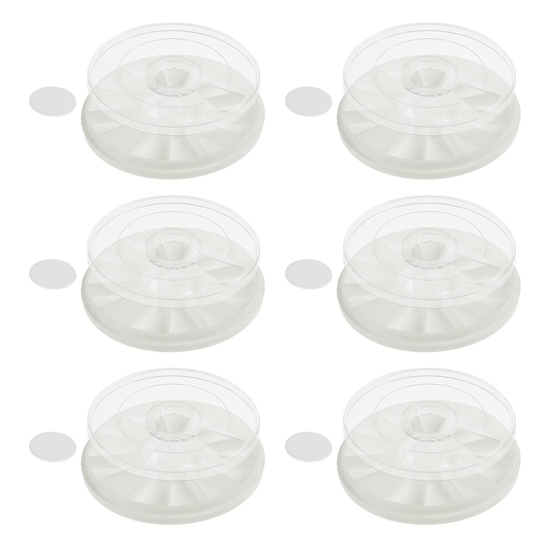 BCP 6pcs Mini 12 Wells Round Plastic White Plate and Transparent Cover Watercolor Palette Storage Case Art Paint Tray Plastic Mixing Palette Box 4336975098