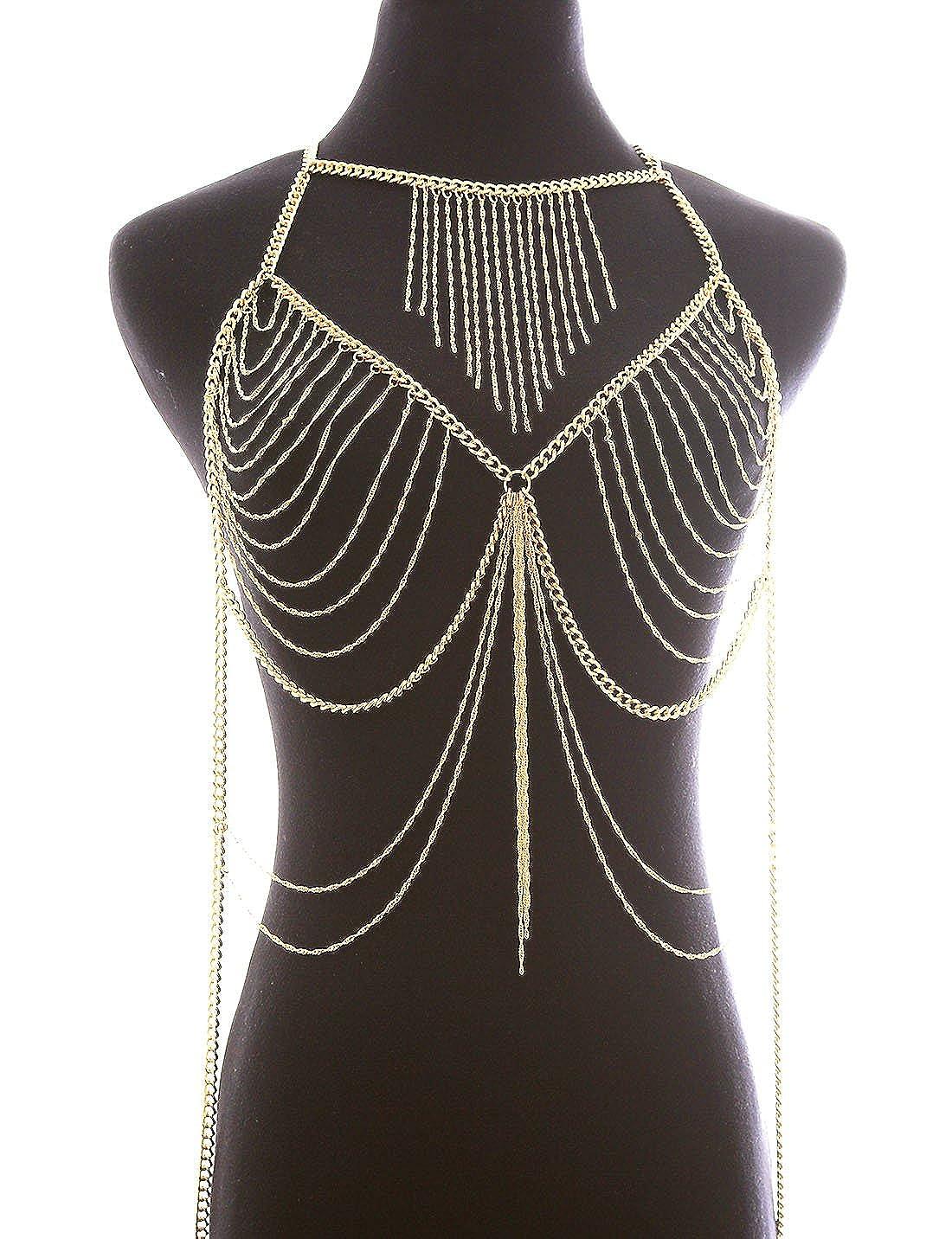 fd95340978 Amazon.com  Fine Fashion Boderier Retro Bikini Bralette Chain Harness  Necklace Crossover Body Chain for Women (Gold)  Jewelry