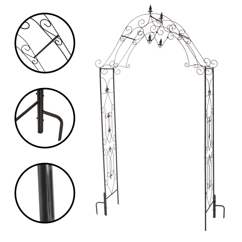 1PLUS Robuster Rosenbogen aus Stahl, Gartentor aus Metall Kordes, Edelrostoptik Oder Schwarz (Schwarz) incubado GmbH