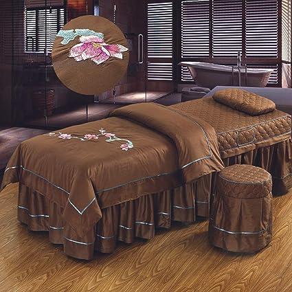 Estilo europeo Color sólido Belleza Cubierta de cama Masajes juegos de mesa hoja Solo Falda de cama Hoja de Fisioterapia Colchas Terapia Spa Cama universal Con agujero-marrón 190x70cm(75x28inch): Amazon.es: Hogar