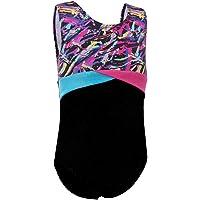 HUAANIUE Girls Teamwear Dance Gymnastics Ballet Sparkle Mystique Leotard Short Sleeve