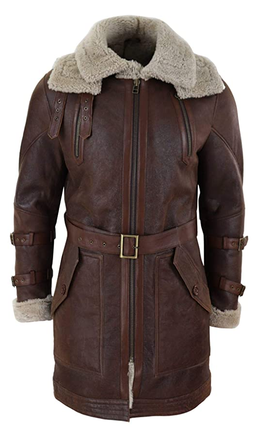 Men's Vintage Style Coats and Jackets Mens Real 3/4 Shearling Sheepskin Jacket Brown Beige Long Belt Flying Cockpit $634.49 AT vintagedancer.com