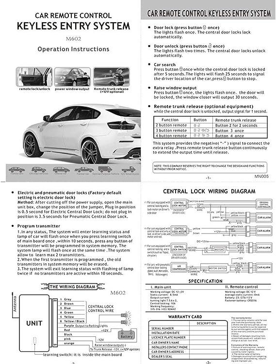 car keyless entry wiring diagram amazon com dishykooker car auto remote central kit door lock  car auto remote central kit door lock