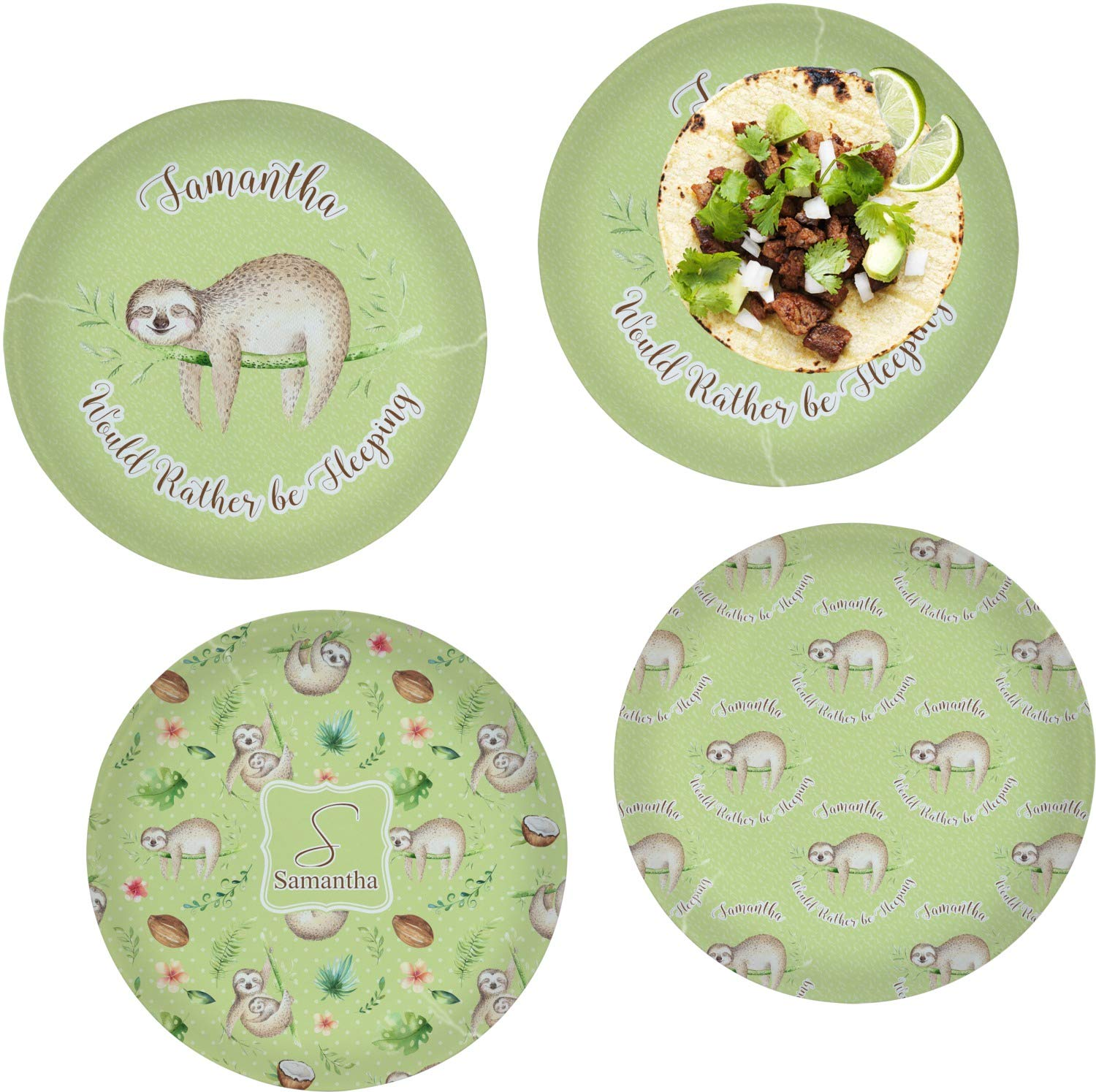 Sloth Set of 4 Glass Lunch/Dinner Plate 10'' (Personalized)