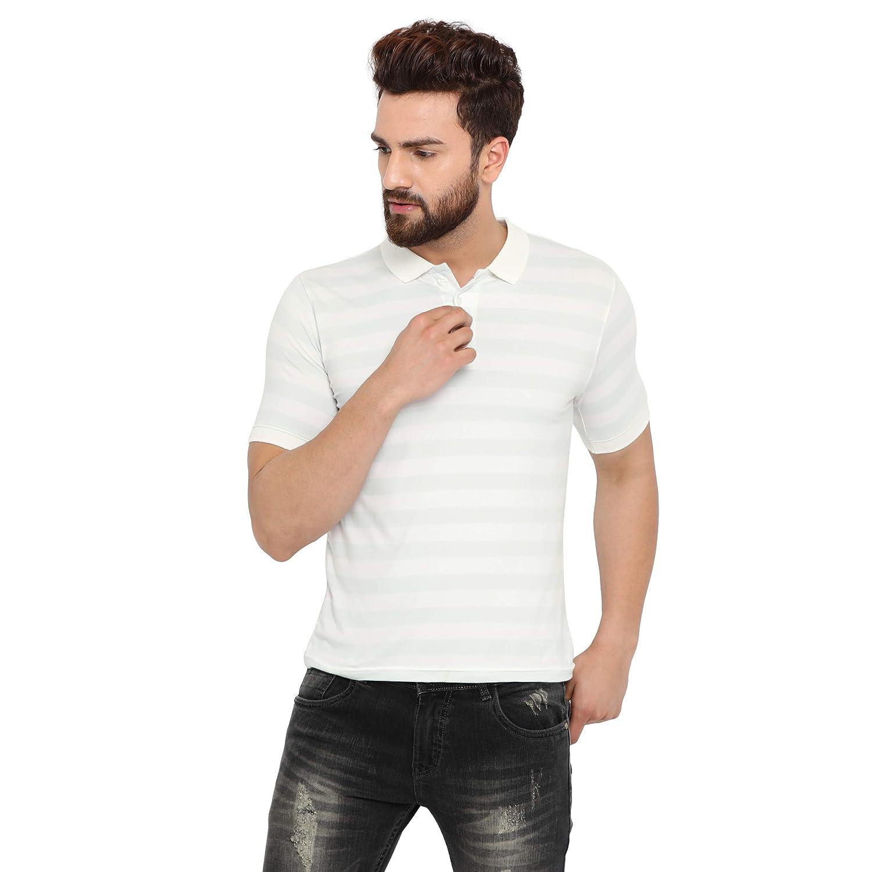 4877c57c4 merchant of designs M.O.D Men s Cotton Half Sleeve Polo T-Shirt Striped Polo  Neck Green