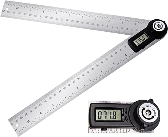 """Electronic Digital Angle Finder 8/"""" Protractor Ruler Stainless LCD batteries G6D8"""