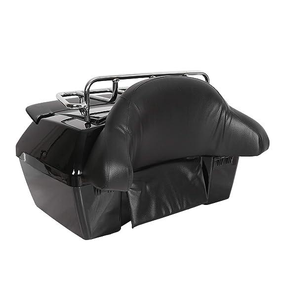 EGO BIKE Black Motorcycle Trunk Tour Pack Luggage for Harley Honda Yamaha  Suzuki Cruiser Motorcycle Luggage Tour Trunk Tail Box with Top Rack Backrest