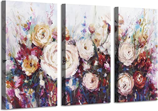 """DEEP PINK ROSE CANVAS ART FLORAL ARTWORK FRAMED 34x20/"""""""