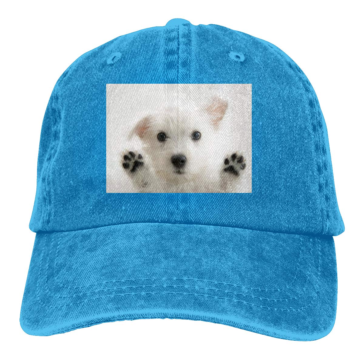 Qbeir Adult Unisex Cowboy Cap Adjustable Hat Cute Dog Puppy Cotton Denim