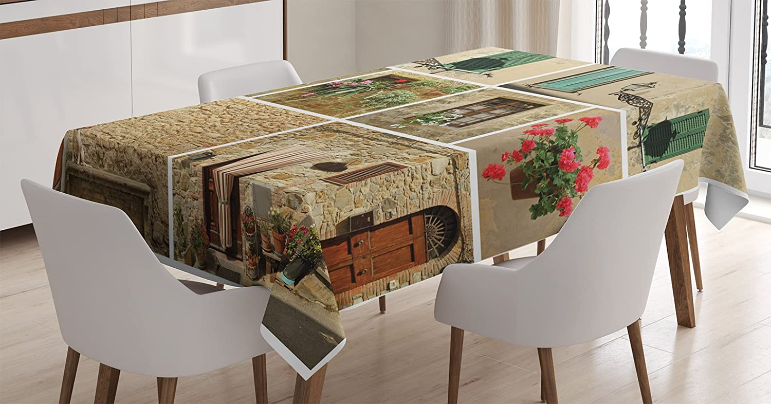 """Ambesonne Italian Tablecloth, Pictures of Italy Lifestyle Old Classic Shutter Window Stone Houses Print, Rectangular Table Cover for Dining Room Kitchen Decor, 60"""" X 90"""", Pale Beige"""