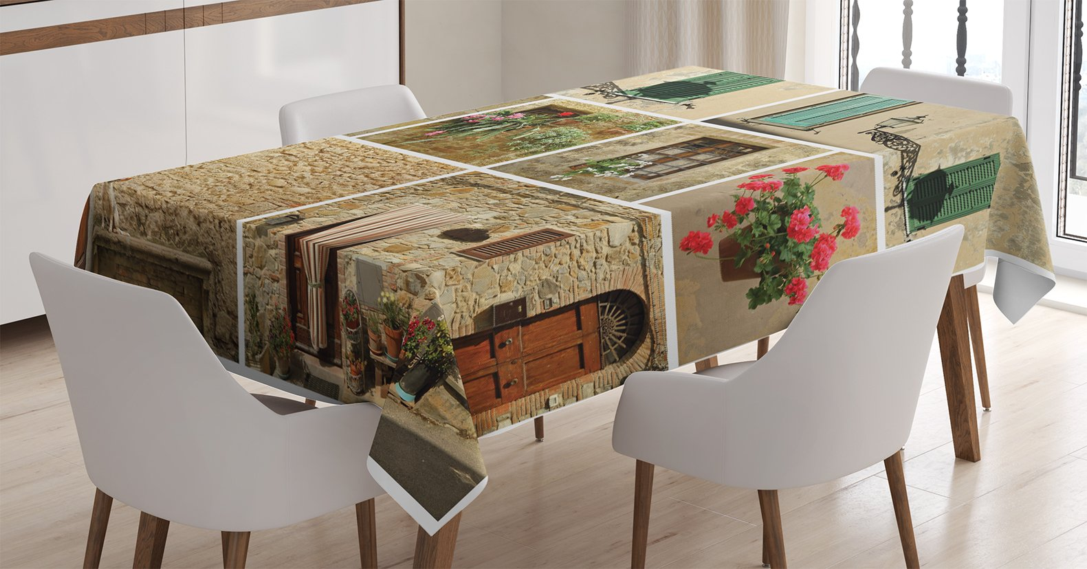 Ambesonne Tuscan Decor Tablecloth, Various Pictures of Italian Lifestyle with Old Classic Shutter Window and Stone Houses Print, Rectangular Table Cover for Dining Room Kitchen, 60x90 inch, Multi