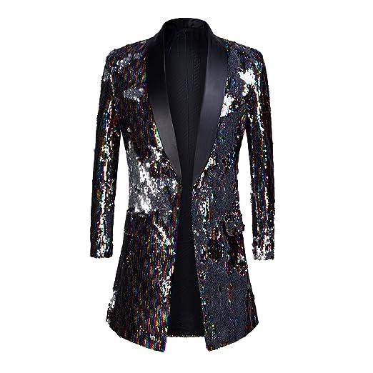 f4fb6fc0 PYJTRL Mens Fashion Shawl Lapel Double-Sided Colorful Sequins Long Suits  Jacket Blazer (Multicolor