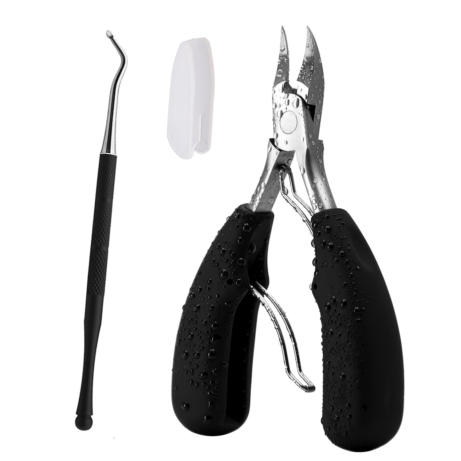 Toenail Clippers for Thick or Ingrown Toenails, Heavy Duty Soft Grip Toenail Clipper Manicure Set, Podiatrist Toenail Clipper with Cleaner File Kit