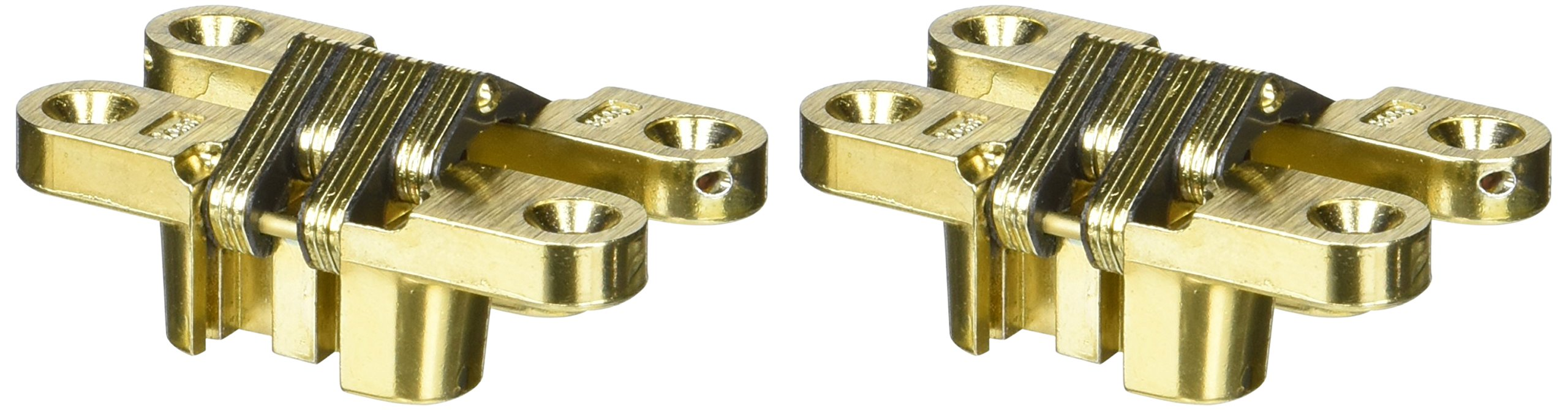 SOSS Mortise Mount Invisible Hinges with 4 Holes, Zinc, Satin Brass Finish, 2-3/8'' Leaf Height, 1/2'' Leaf Width, 23/32'' Leaf Thickness, 7 x 1-1/4'' Screw Size (1 Pair)