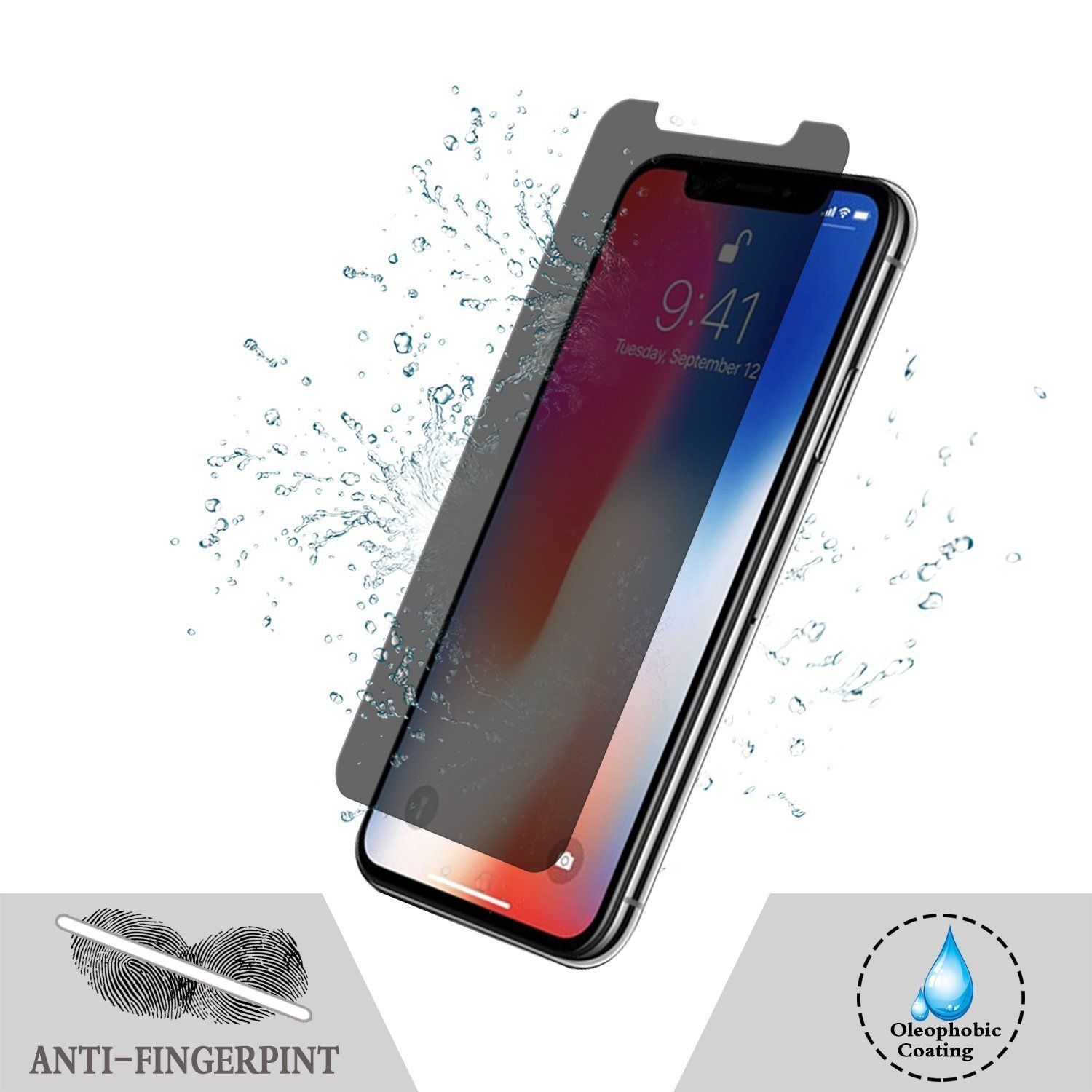 [2 Packs] iPhone X Privacy Screen Protector, Live2Pedal iPhone X Anti Spy Tempered Glass Screen Protector [3D Touch] [9H Hardness] For Apple iPhone X Privacy. by Live2Pedal (Image #5)