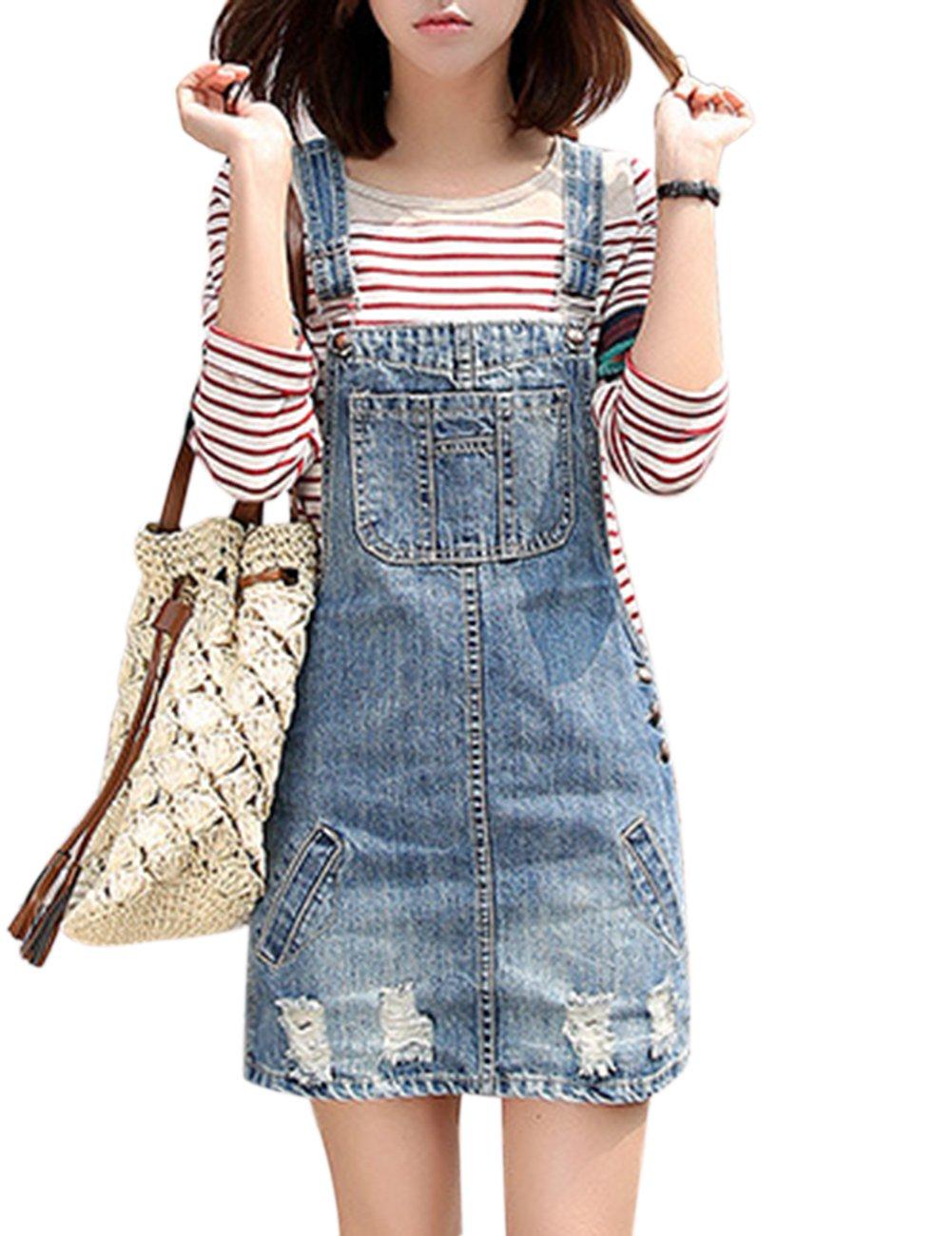Meiyiu Women Fashion Casual Holes Denim Skirt Shoulder Strap Suspender Skirt Blue M