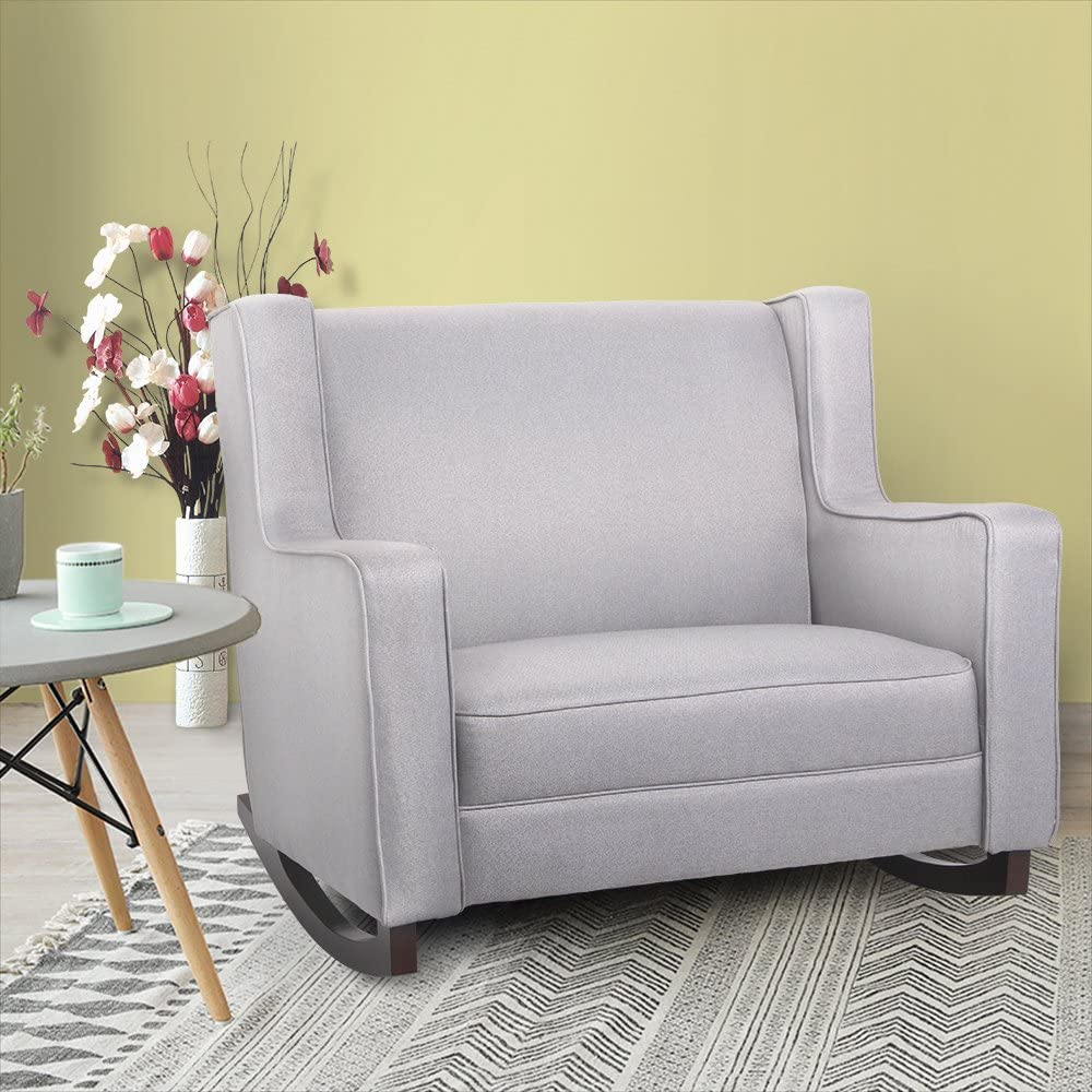 EXRIGHT Grey Upholstered Rocking Oversized Chair