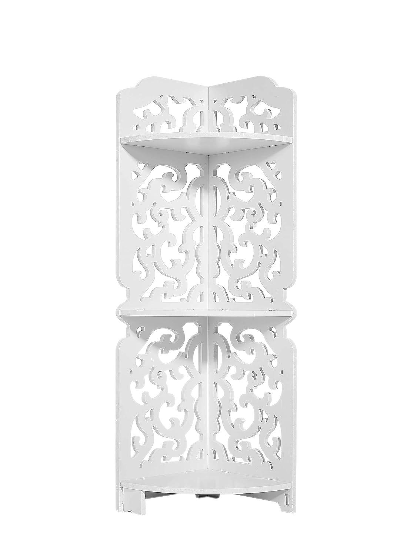 Dline -3 Tires Wood-Plastic Composites Corner Shelf, White(XY3CZWJA)