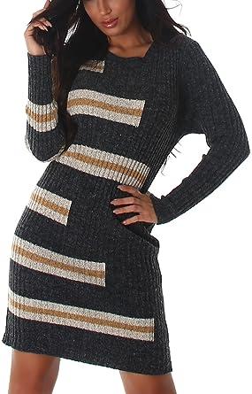 Voyelles Damen Strickkleid Longpulli Stretch-Kleid Midi weich Streifen RIPP  Langarm, Grau c38a31d95f