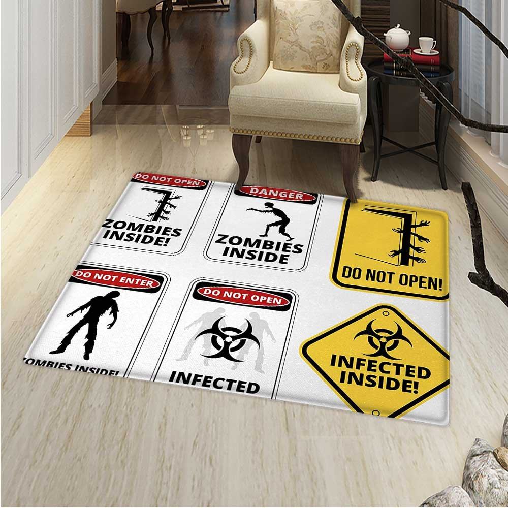 Zombie Area Rug Carpet Warning Signs for Evil Creatures Paranormal Construction Design Do Not Open Artwork Living Dining Room Bedroom Hallway Office Carpet 36''x48'' Multicolor
