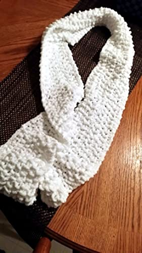 Amazon Com Hand Knit Cream Chenille Scarf Seed Stitch Other