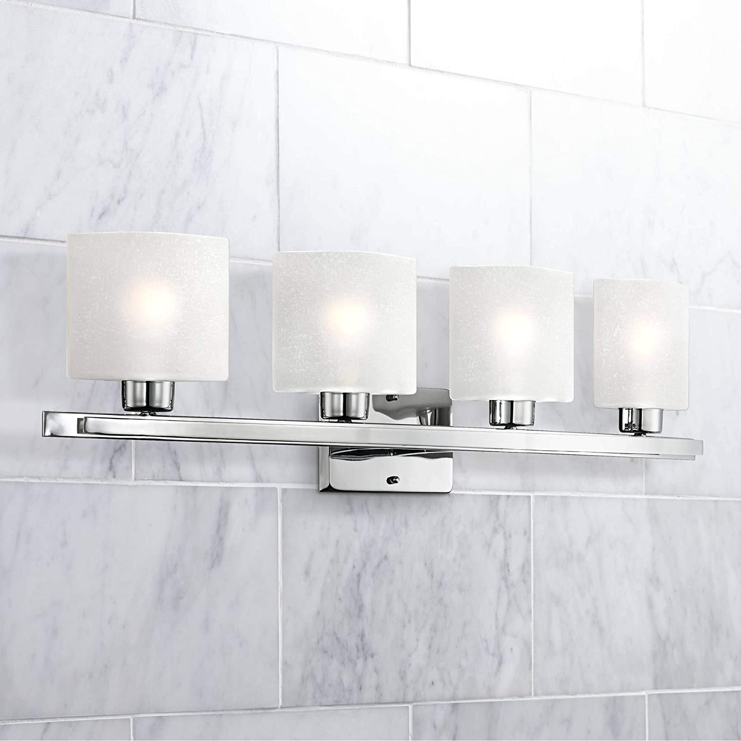 Modern Wall Light Chrome Hardwired 32 Wide 4-Light Fixture White Linen Glass Shades for Bathroom Vanity – Possini Euro Design
