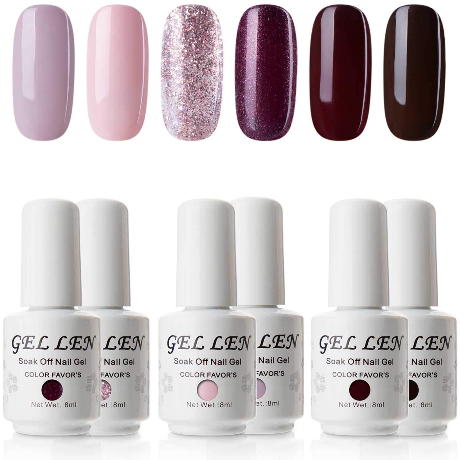 Amazon.com : Gellen Gel Nail Polish Set 6 Colors - Mysterious Colors ...