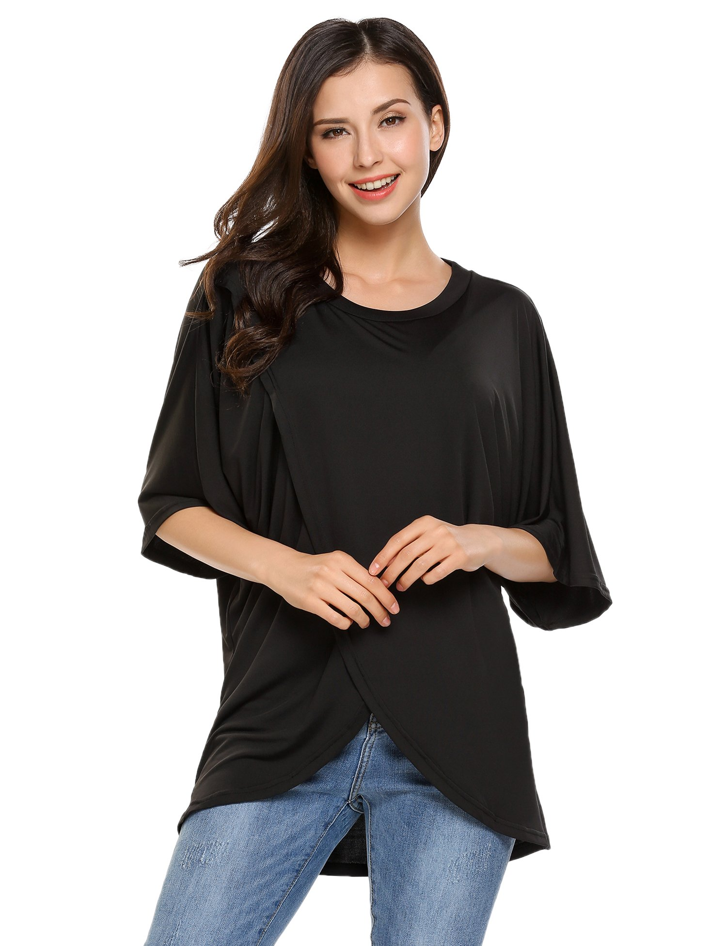 Beyove Women 1/2 Sleeve Round Neck Comfy Loose Fit T-Shirt Blouse Crossover Tops(Black,S)