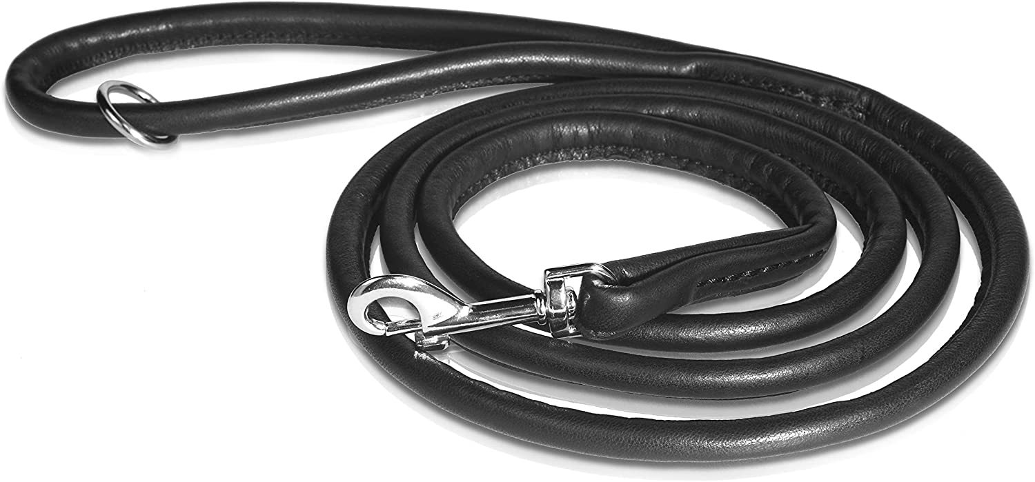 Handmade Dog Leash 180 cm // 70.8 inch Long Made In Europe Of Genuine Leather Safe Swivel Trigger Hook Lobster Clasp Black PET FIRST Round Leather Lead For Your Dog