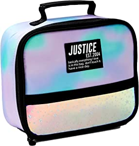 Justice Lunch Box for Girls with Dye Effect Finish and Holographic Stars - Insulated Lunch Bag for School, Travel, Beach, Picnic - Perfect Storage for Hot Food, Water Bottle, Juice Box - BPA-Free