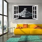 Fangeplus(TM) DIY Removable 3D Window View Star War Spacecraft Art Mural Vinyl Waterproof Wall Stickers Kids Room Decor Nursery Decal Sticker Wallpaper38.1''x22.4''