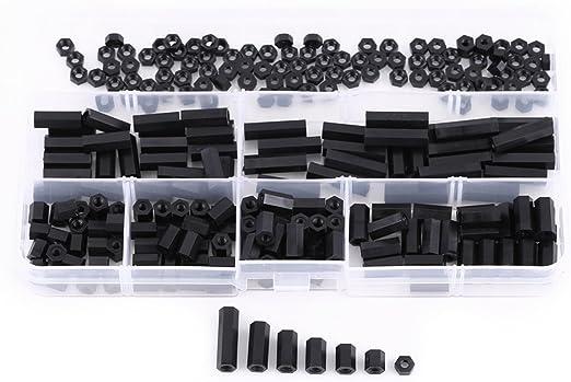 250pcs M2 M3 Hex Spalte Unentschieden Verl/ängerungss/äule Schrauben Muttern Sortiment Kit mit Aufbewahrungsbox schwarz