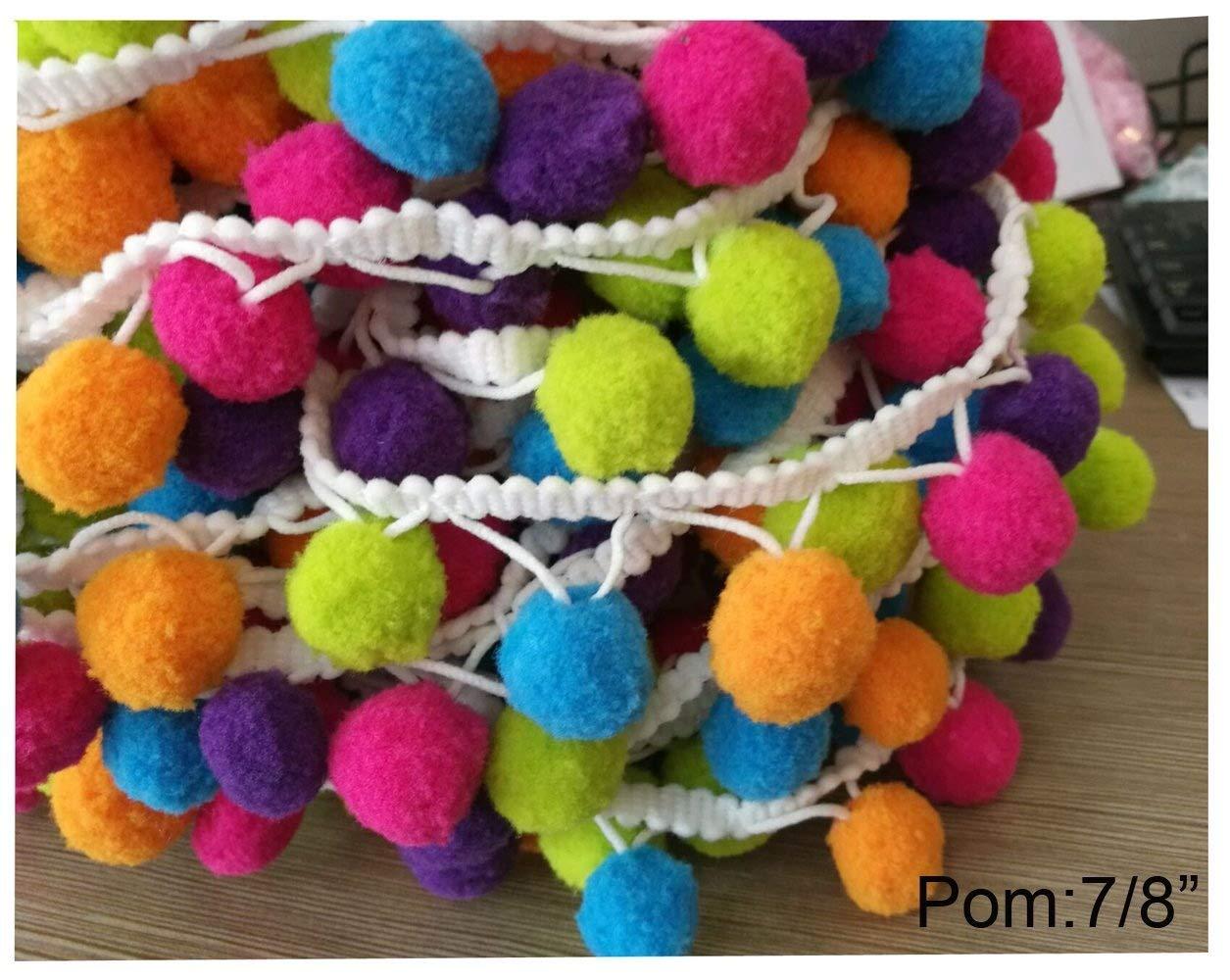 5 Yards Rainbow Q YYCRAFT Rainbow Pom Pom Ball fringe Trim Ribbon Sewing