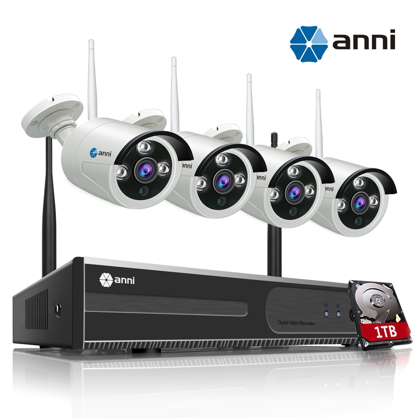 anni 4CH 720P HD Wireless Security CCTV Surveillance Camera, WiFi NVR Kit and (4) 1.0MP Megapixel Wireless Indoor Outdoor Bullet IP Cameras, P2P, 65ft Night Vision with 1TB Hard Drive