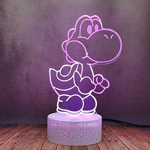 Cute Cartoon Dinosaur Yoshi Night Light, Creative 3D LED Mario Game Anime Table Lamp, 16 Color Dimmable Touch Remote Acrylic Lamp, Baby Breastfeeding Kid Sleep Bedroom Decor Birthday Xmas Gift