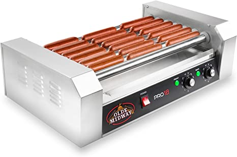 Commercial Hot Dog Roller Machine,Electric 18 Hot Dog 7 Roller Grill Cooker Machine With Cover 1050W