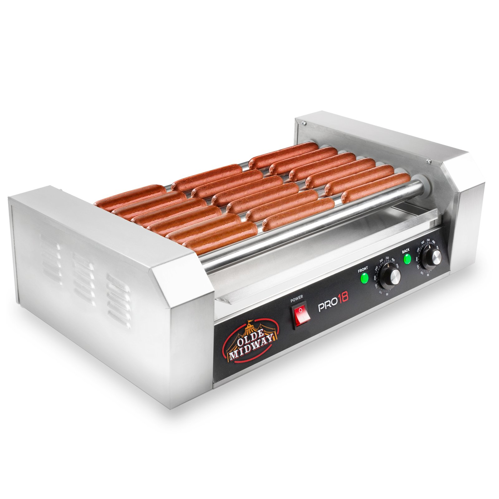 Olde Midway Electric 18 Hot Dog 7 Roller Grill Cooker Machine 900-Watt - Commercial Grade by Olde Midway