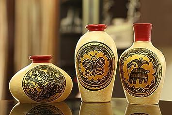 Buy Craftbell Miniature Madhubani Table Pots In Terracotta Golden