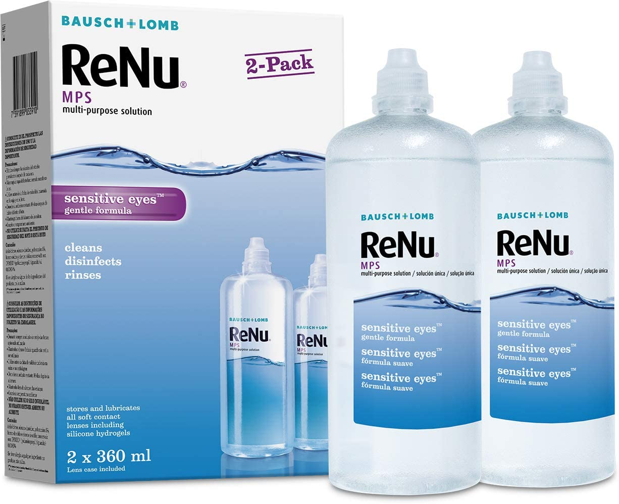 Renu Multi Purpose Contact Lens Solution 2 X 360ml Soft Contact Lenses For Comfortable Wear Gentle On Sensitive Eyes Clean Disinfect Rinse And Store Your Lenses Lens Case Included