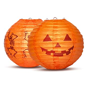 uneede 2 stuck halloween deko laterne 20cm led 3d papier lampions kurbis skelett chinesische laternen led