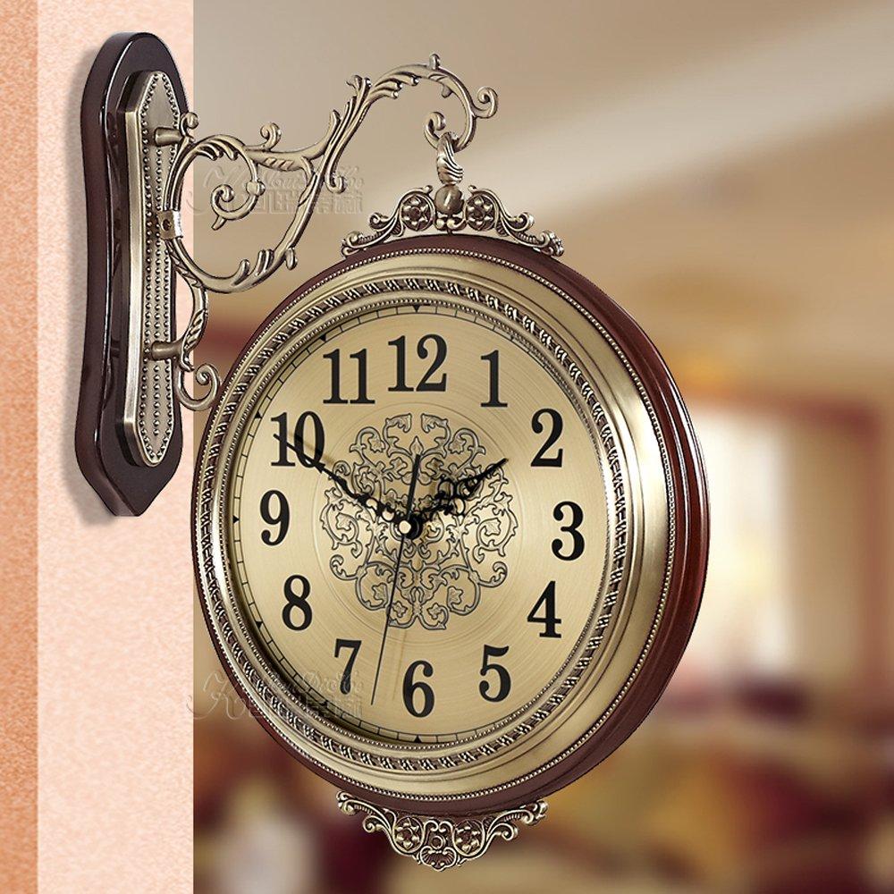 おしゃれ 16 inch 両面置き时计 360° 壁掛け実木の枠高級なタイムデコアナログ おしゃれ 超静音掛け鐘 wall clock 家居を飾る (木の色 16 インチ) B07CK9YH82木の色 16 インチ
