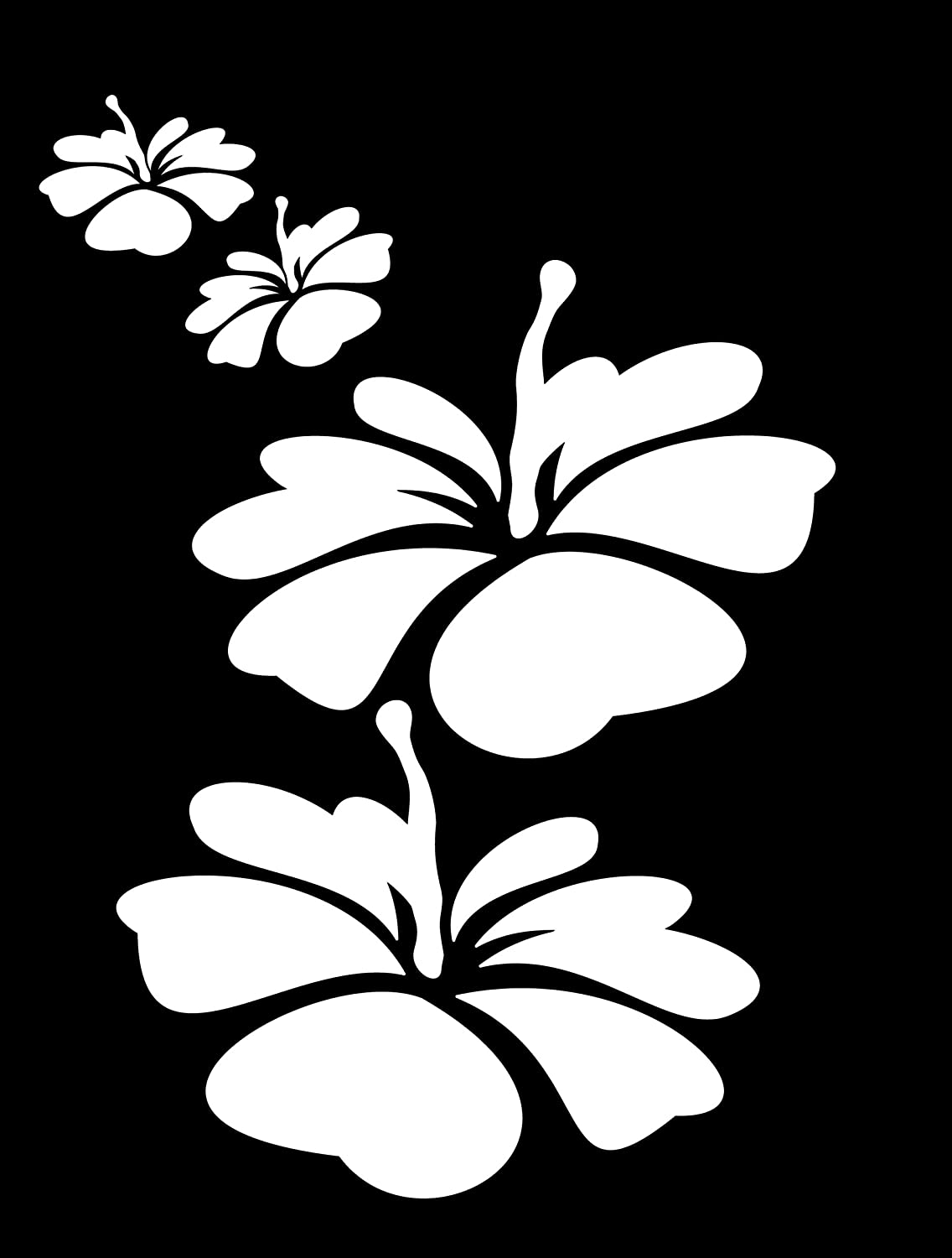 White Decal 3642 Chroma Graphics Hibiscus Flower Die Cutz