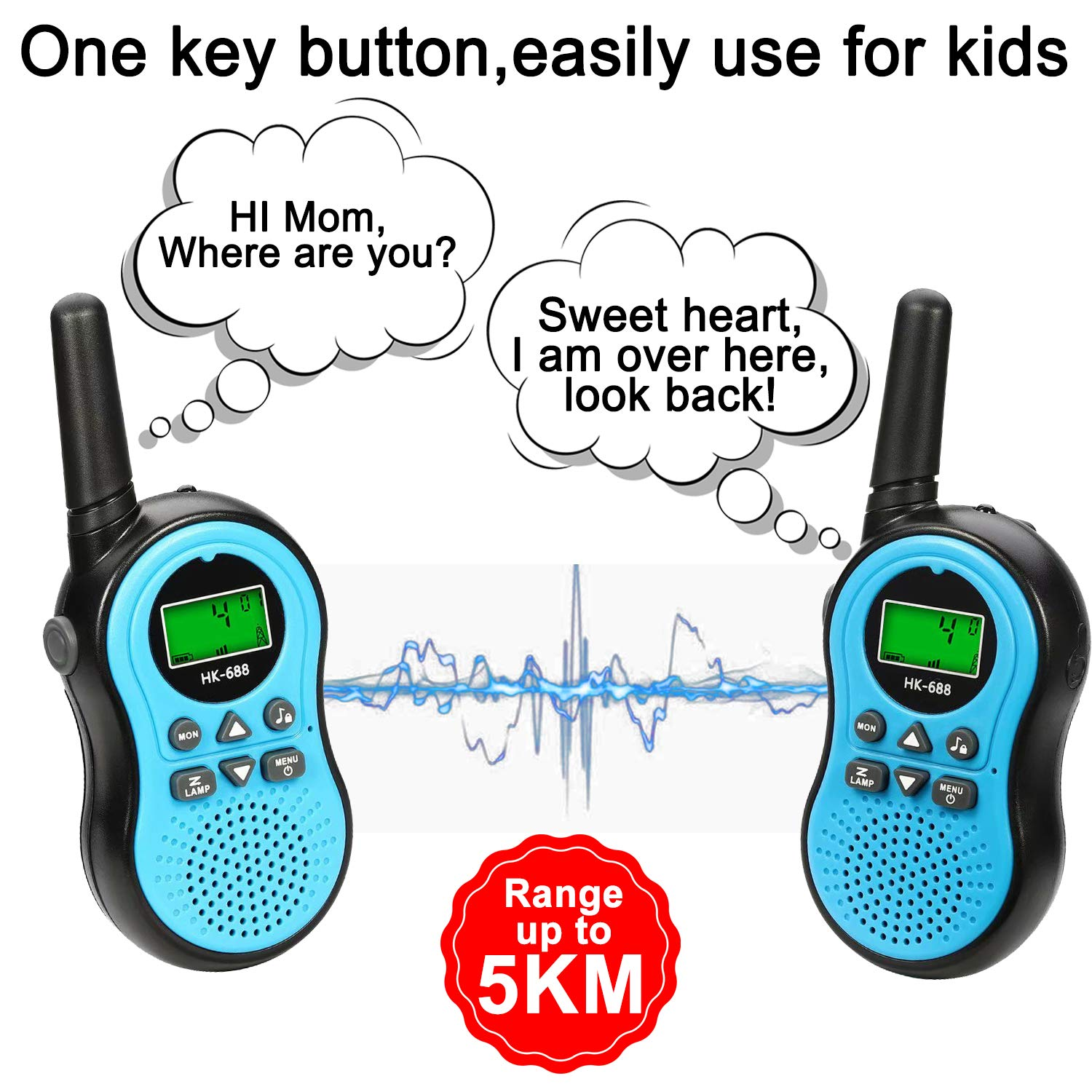 ZOFUNNY 4 Pack Kids Walkie Talkies for Boys Girls Rechargeable Radios 2 Way Long Range 22 Channel Walkie Talkies with Flashlight FRS Radio Toys Outdoor Adventure Camping Hiking Holiday Birthday Gifts by ZOFUNNY (Image #2)